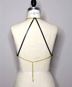 delicate leather chain harness bra