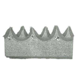 NUMERO 74 - Couronne pailletée grise et argent