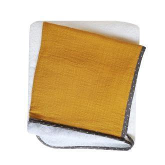 Cape de bain Zanzibar moutarde avec capuche 100% coton de la marque équitable Les Fils,