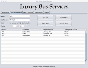 Add Bus, Remove Bus, Update Bus Details