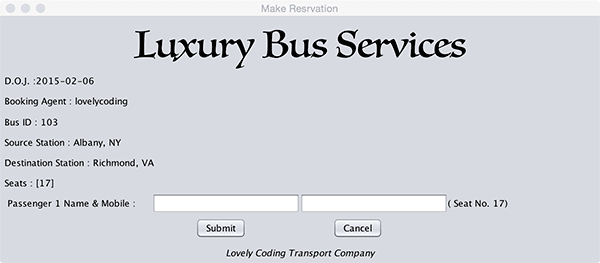 Passenger Details Entry Bus Ticket Booking Project
