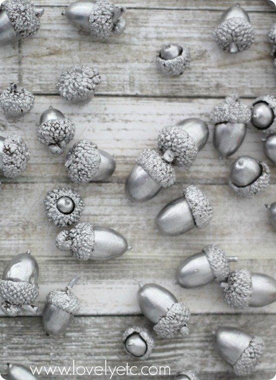 Silver Leaf Acorns Lovely Etc