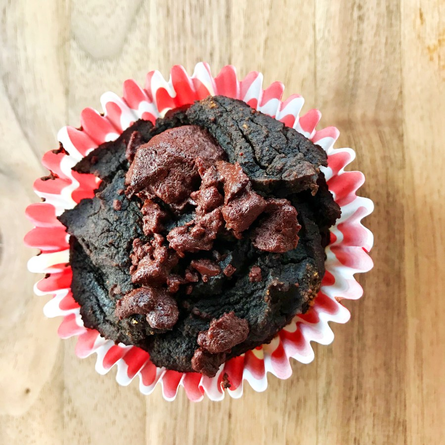 Paleo chocolate muffins all dressed up for Valentine's Day