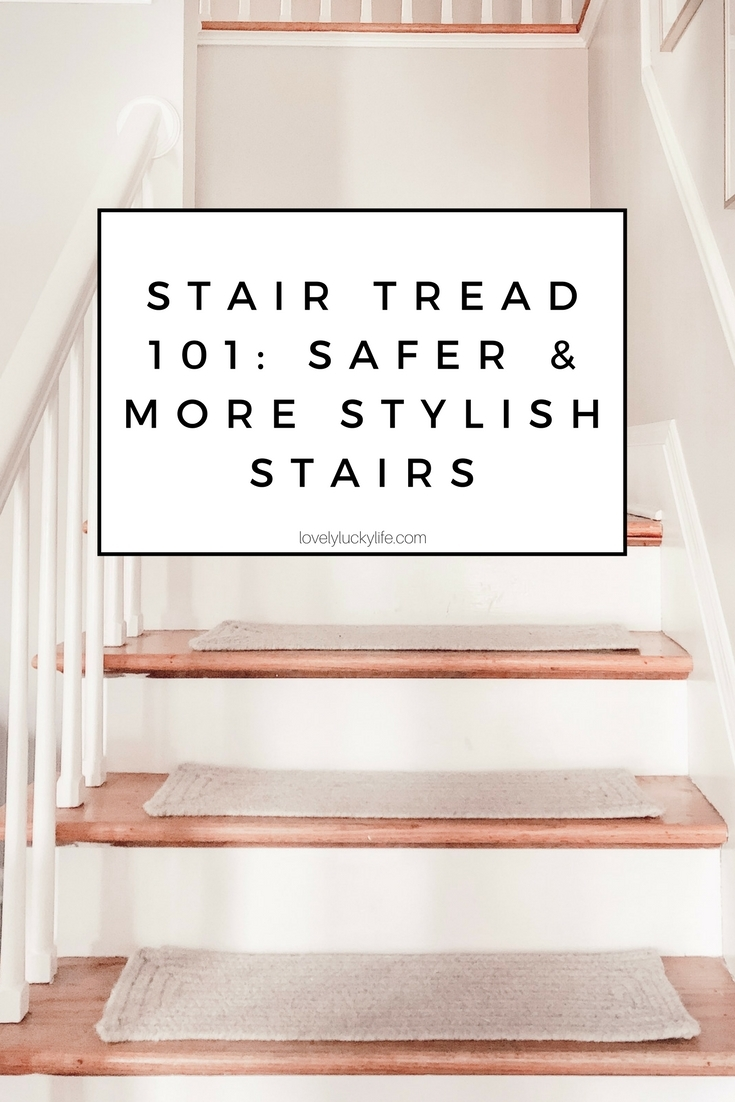 Carpet Stair Tread 101 Why You Need Them On Your Wood Stairs | Modern Carpet Stair Treads | Beige Carpet | Wood | Basement Stairs | Grey | Modern Trellis