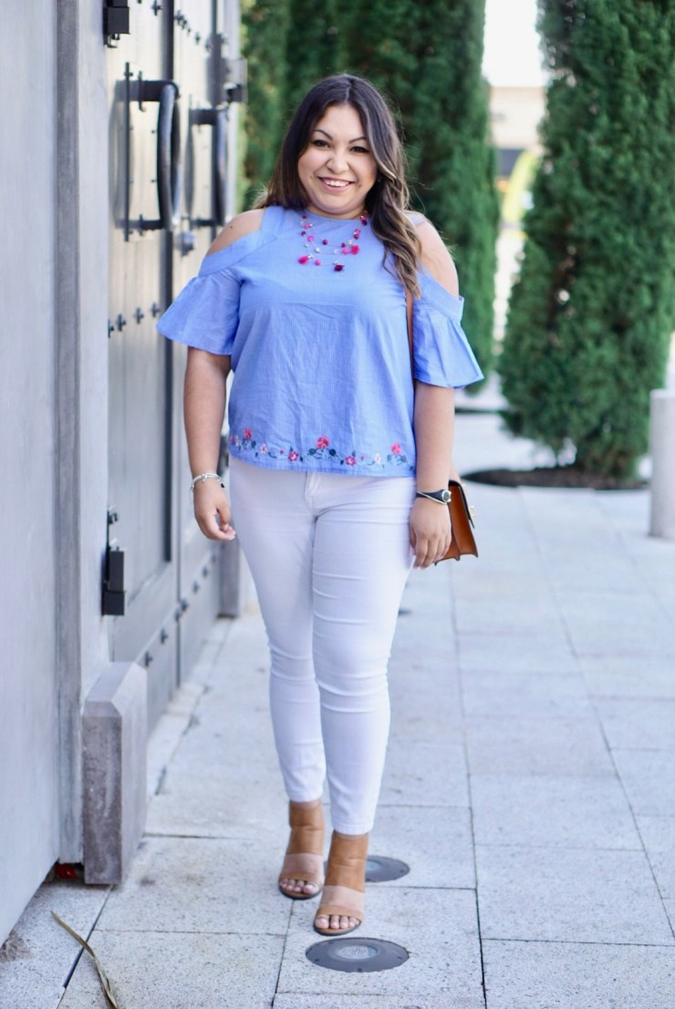 spring look, spring fashion, white jeans, styling white jeans, embroidery top, cognac shoes, henri bendel purse