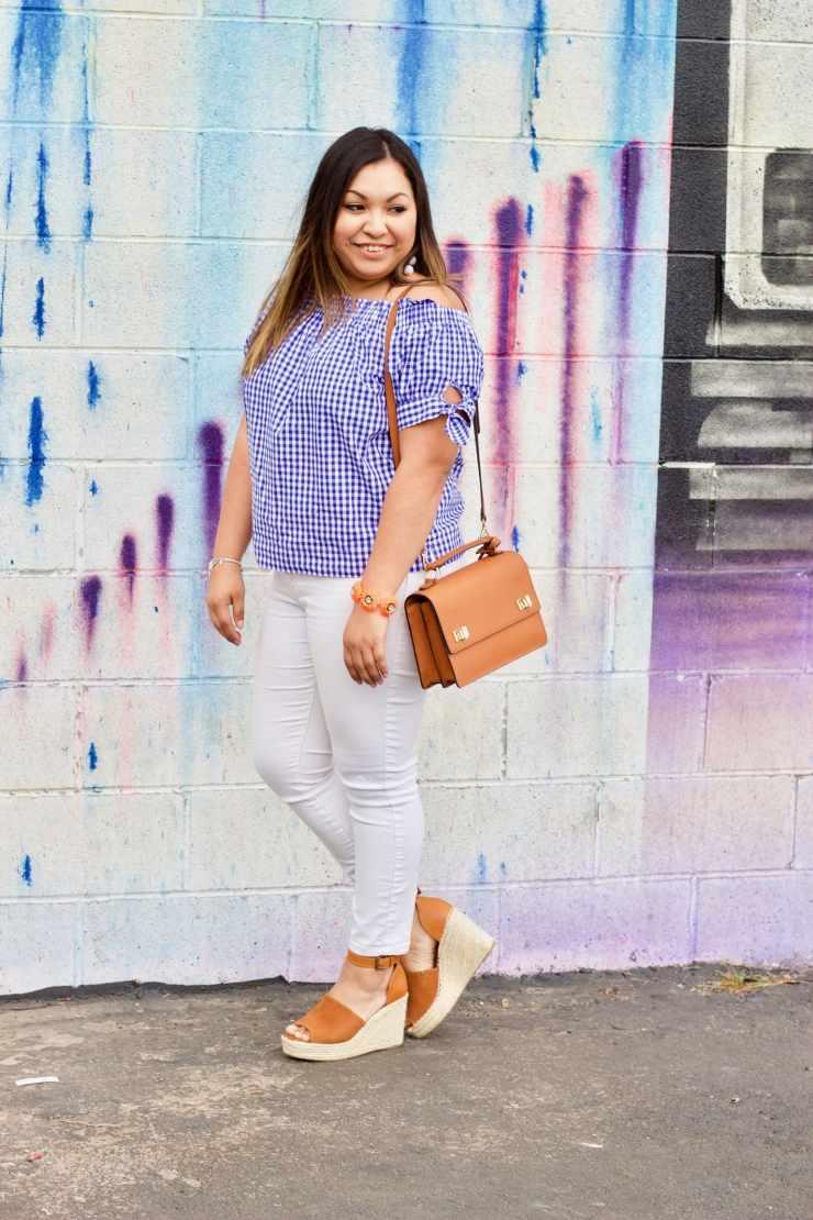 henri bendel bag, gingham off the shoulder, white jeans, spring outfit, spring inspiration outfit