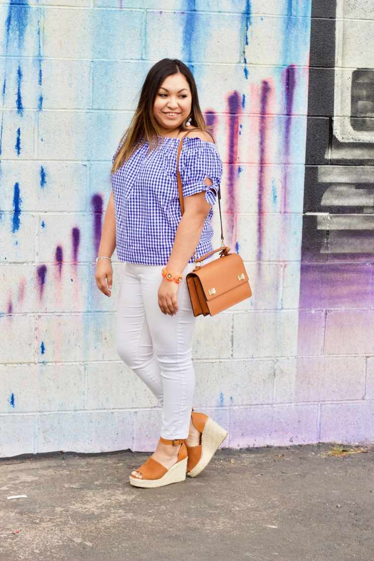 henri bendel bag, gingham off the shoulder, white jeans, spring outfit, spring inspiration outfit