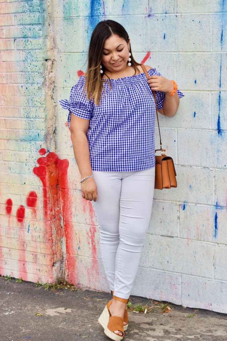 white jeans, white denim, gingham top, gingham, henri bendel bag
