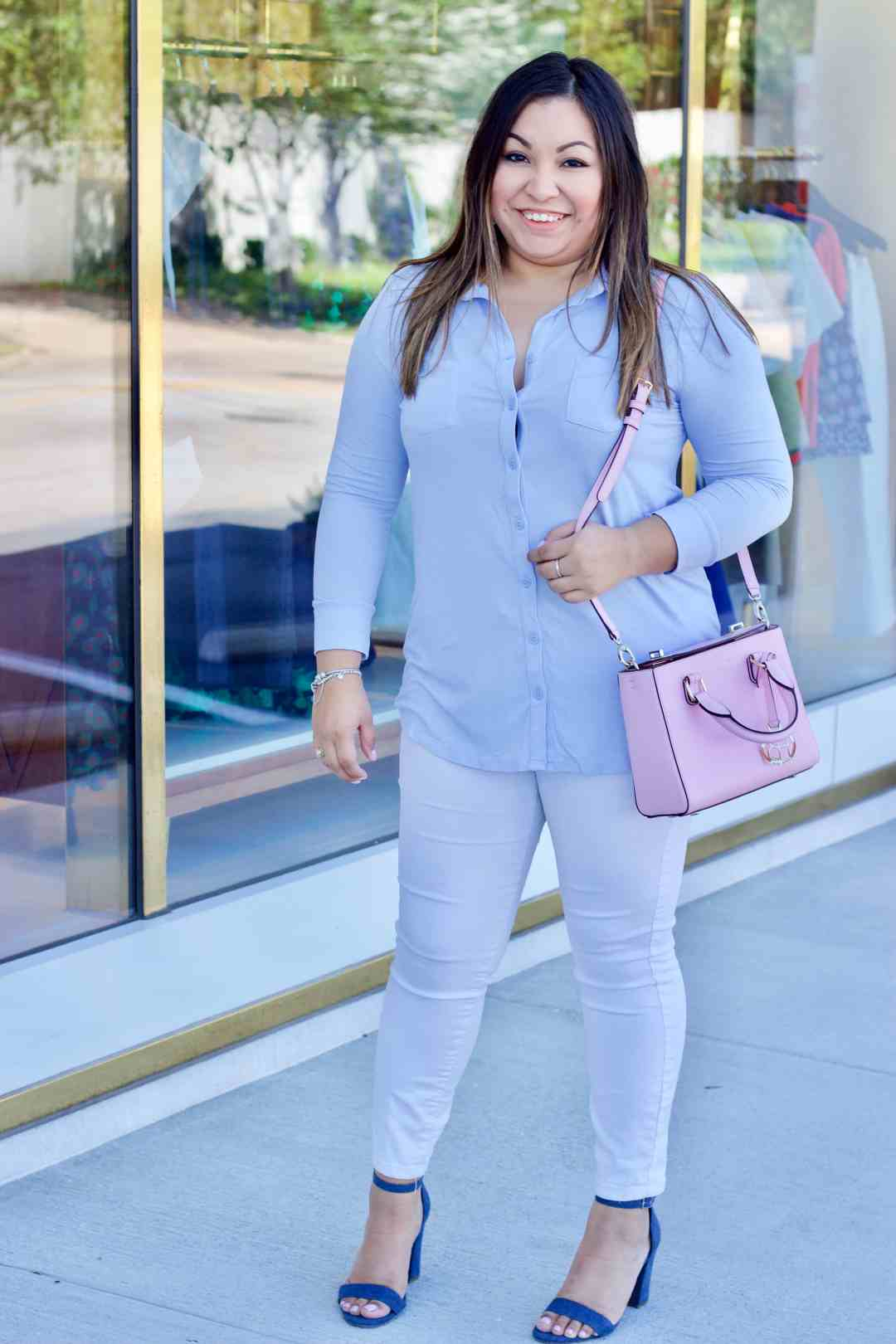 blue button up, white denim, pink purse, denim shoes