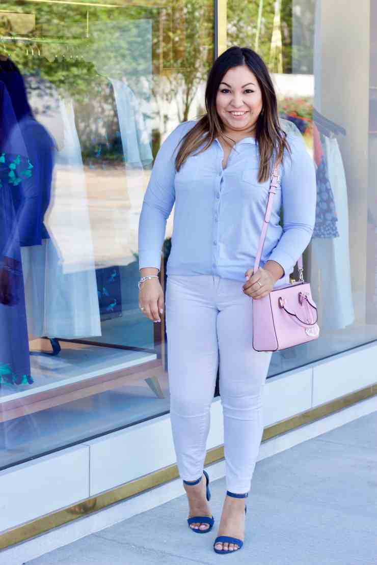 white denim, light blue button up, henri bendel, denim heels
