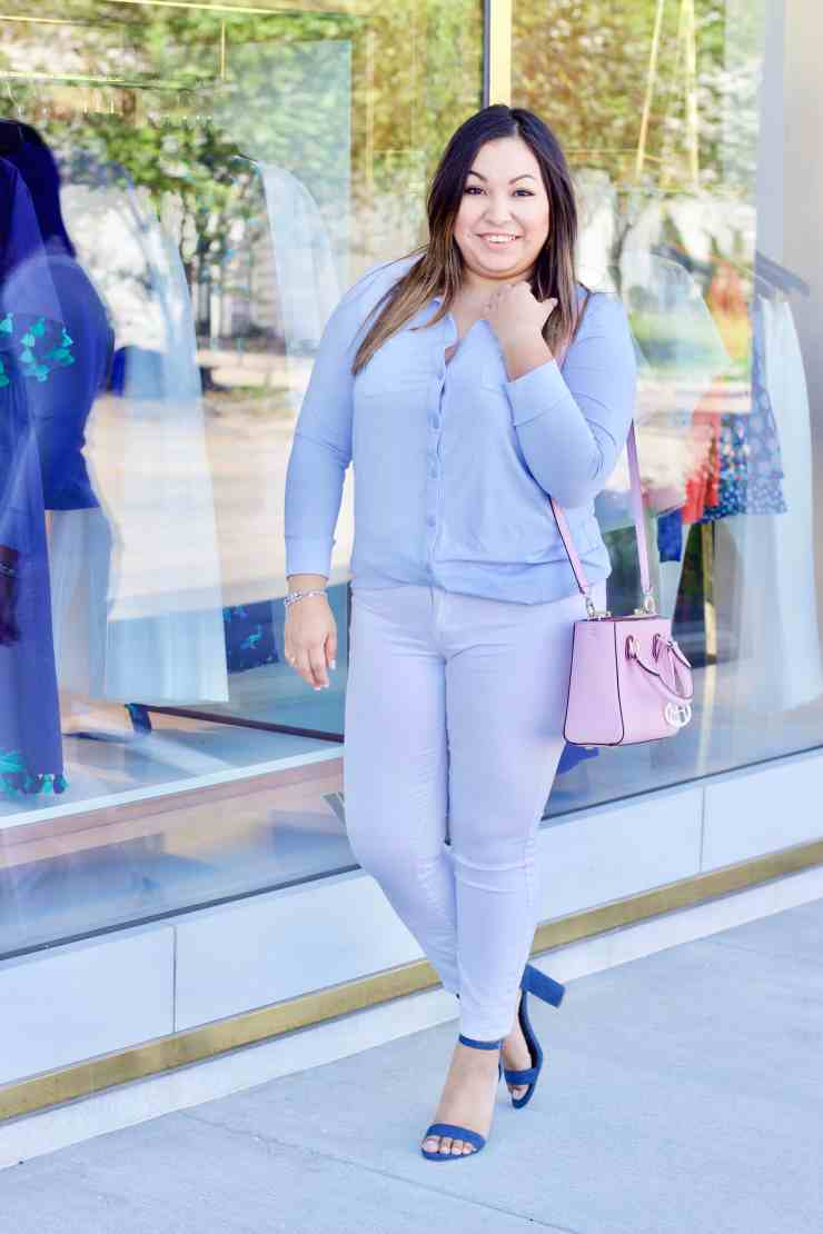 white jeans, blue shoes, pink purse,