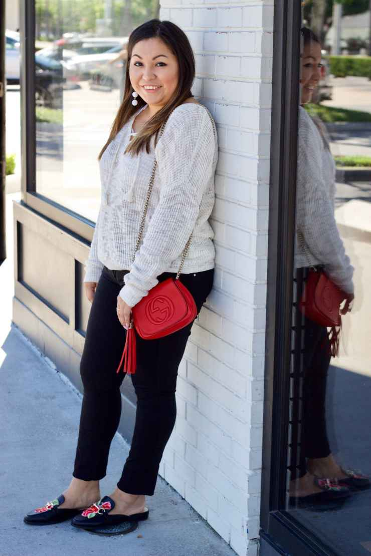 gucci, red gucci bag, cross body bag, black pants, spring outfit