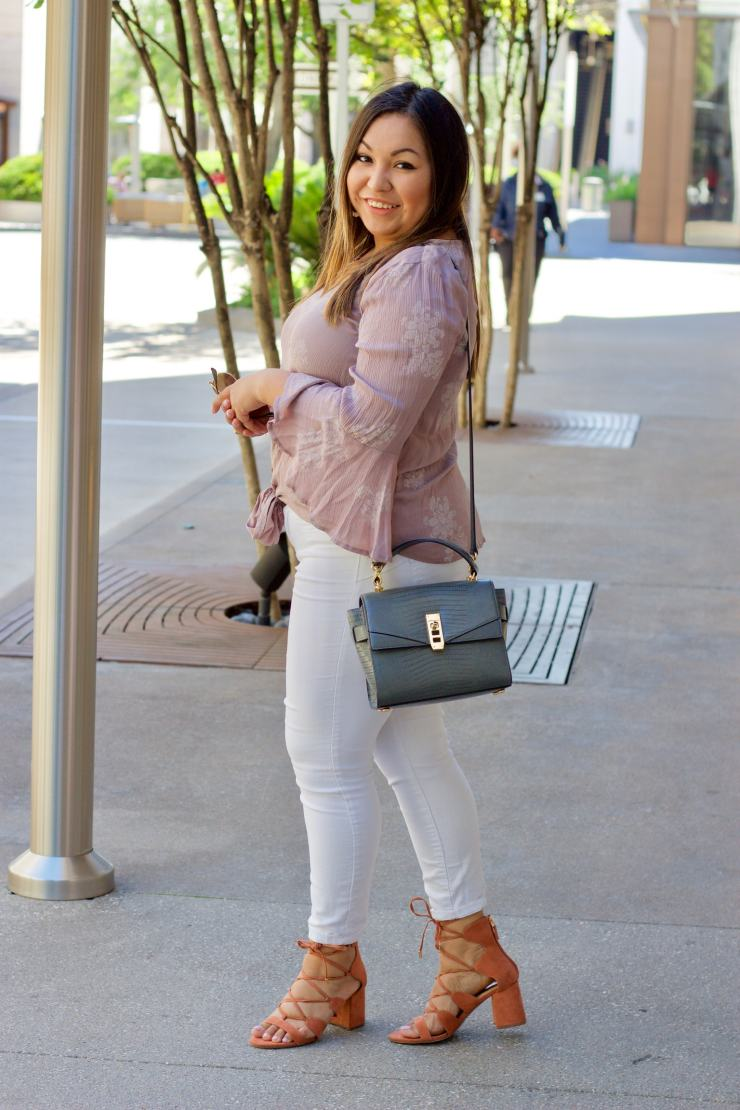 lace up shoes, white jeans, henri bendel bag