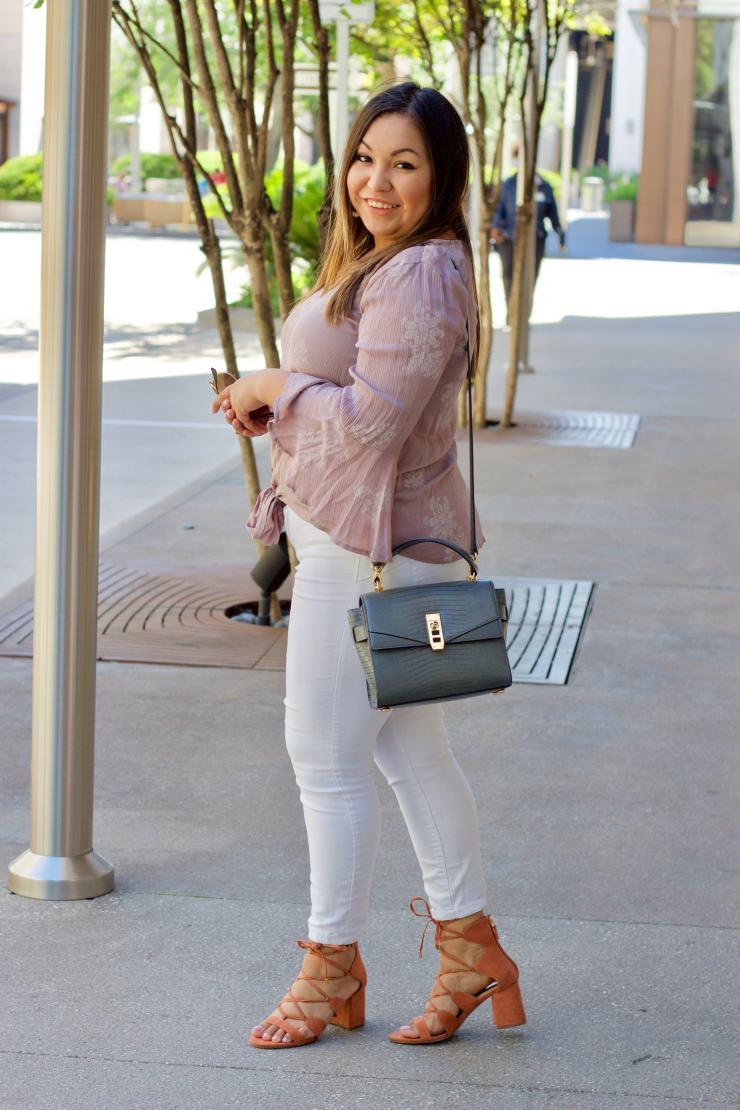 lace up shoes, white jeans, henri bendel bag