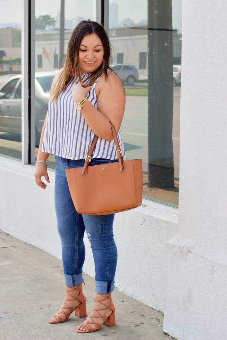 affordable fashion, spring trends, striped top outfit, cute summer outfit