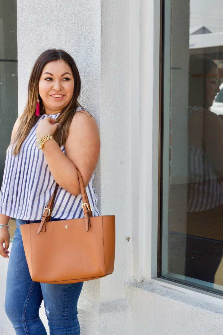tory burch tote, striped top, how to style a striped top