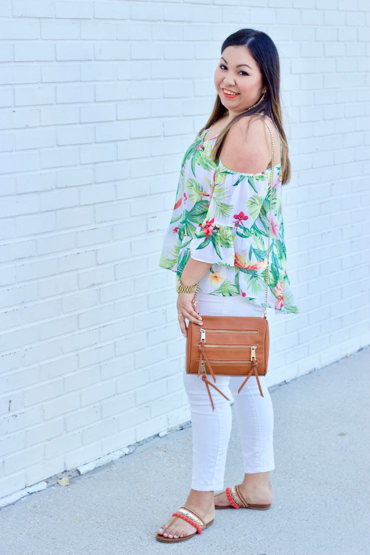 palm tree top, cold shoulder top, white jeans, white denim