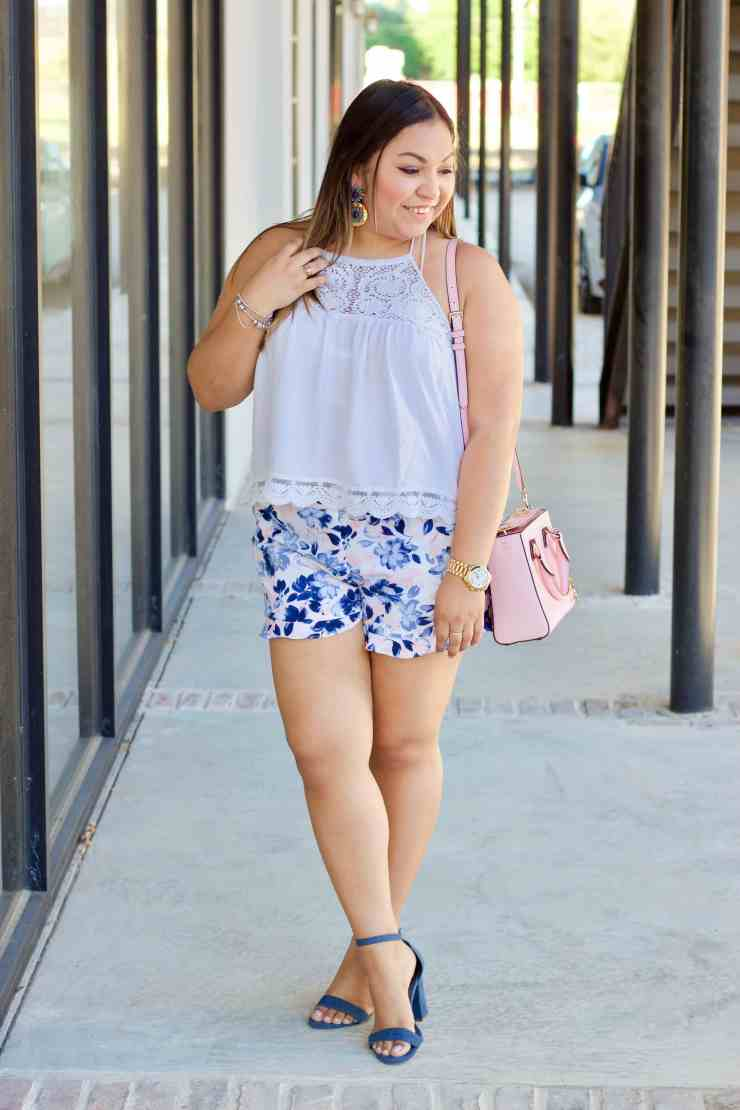 how to style pajama shorts, how to style pink and blue clothing, macy's shorts, forever 21 top,
