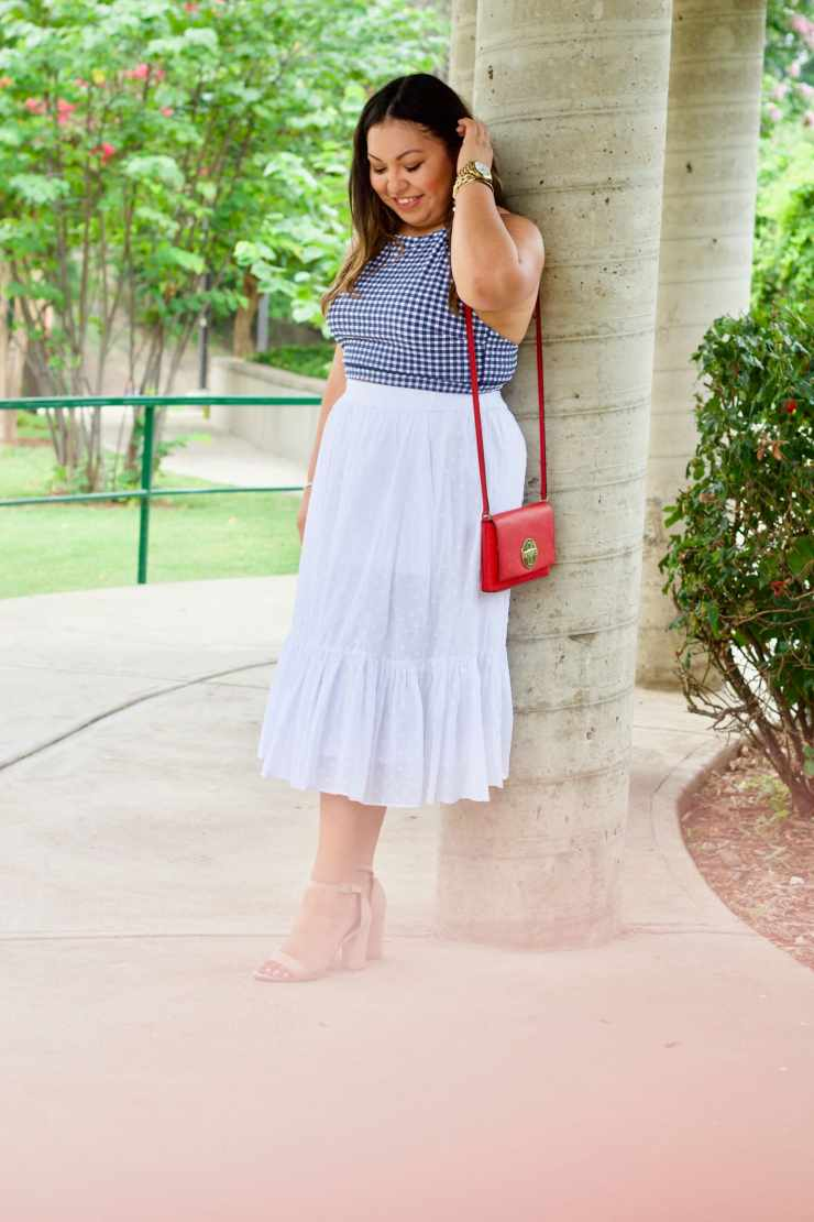 white jcrew skirt, jcrew outfit inspiration, 4ht of july outfit inspiration, pretty 4th of july outfit, cute 4th of july outfit