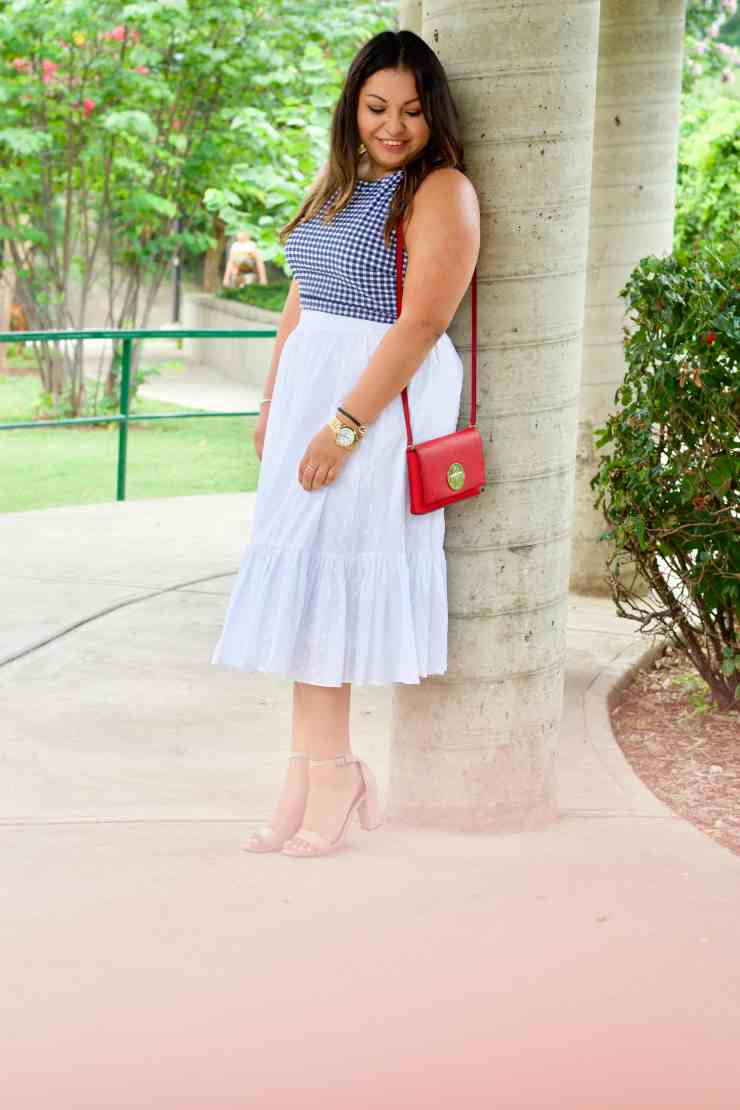 pretty 4th of july outfit, 4th of july outfit inspiration, white skirt, gingham top, red bag, nude heels