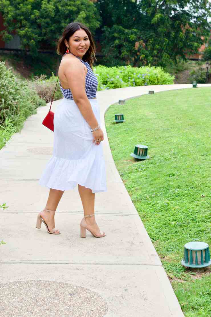 white skirt, gingham crop top, nude heels, red crossbody, cute 4th of july outfit