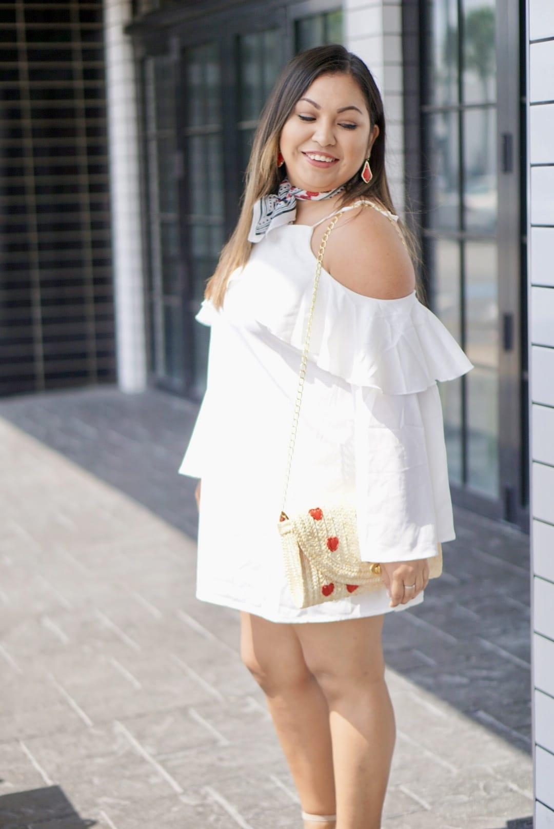 summer trends, summer trend 2017, cold shoulder dress, straw bag, bandana,