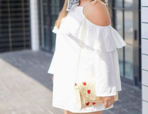 summer trends, summer trend 2017, cold shoulder dress, straw bag, bandana,