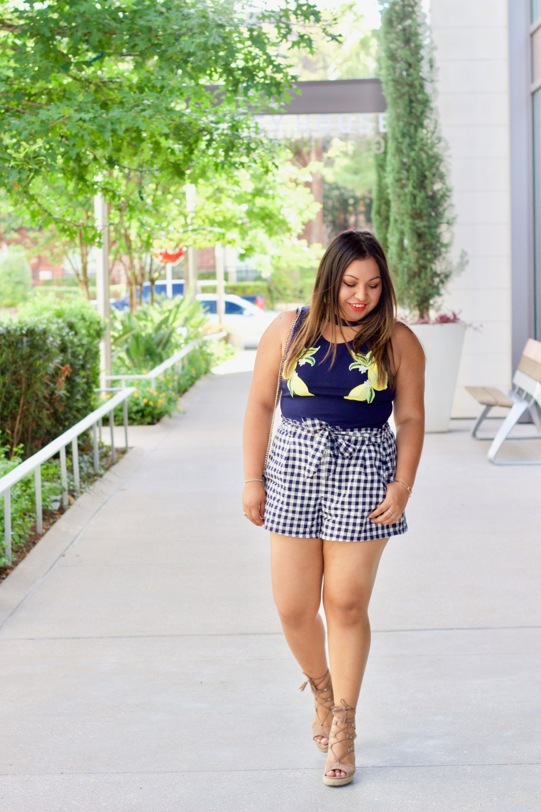 summer outfit, cute summer outfit, gingham shorts, lemon top, lemon fashion trend