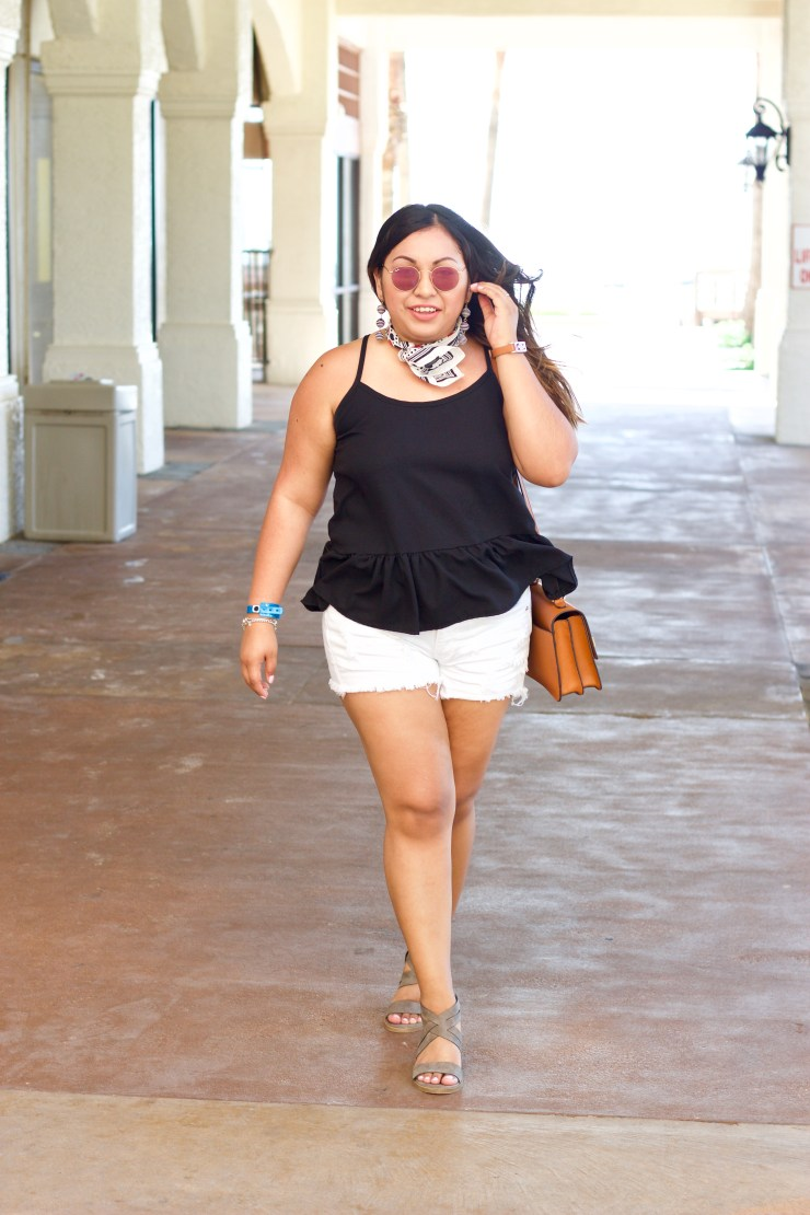 cute summer outfit, summer outfits, black tank, white shorts, south padre island, ray ban