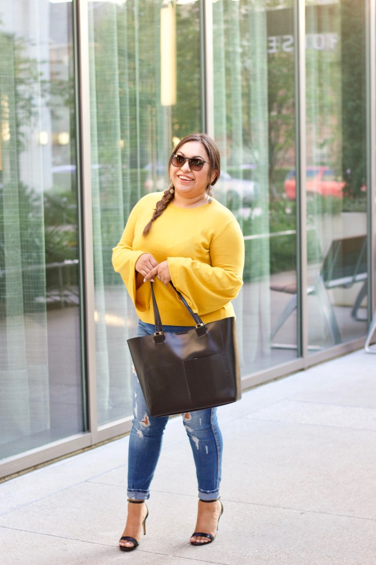 yellow sweater, nordstrom, zara, black tote, cute yellow sweater, style a yellow sweater, leith, confident, having confidence, fall outfit, transition summer to fall