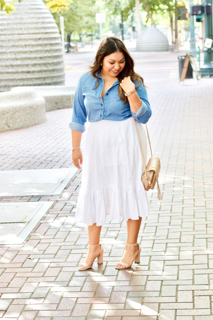 blogiversary, one year, lovely silvia turns 1, q&a, questions and answer, cute outfit, summer outfit, spring outfit, white skirt, chambray top, block heels, blogger outfit