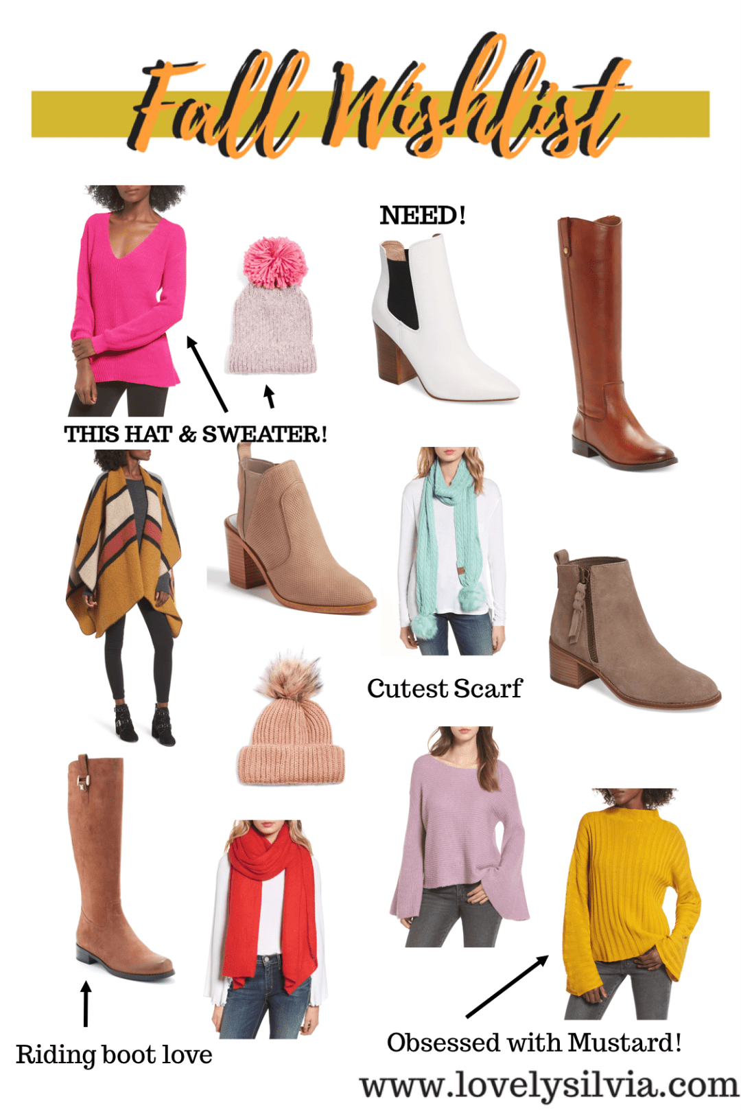 fall wishlist, fall fashion, shop fall finds, fall boots, fall sweaters, fall accessories, pom pom beanie, riding boots, booties,