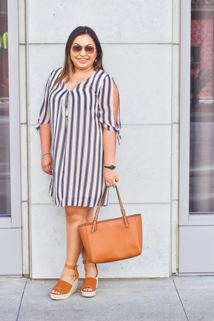 steve madden wedge, wedges, striped dress, tote, tory burch tote, aviators, cute spring outfit, spring outfit
