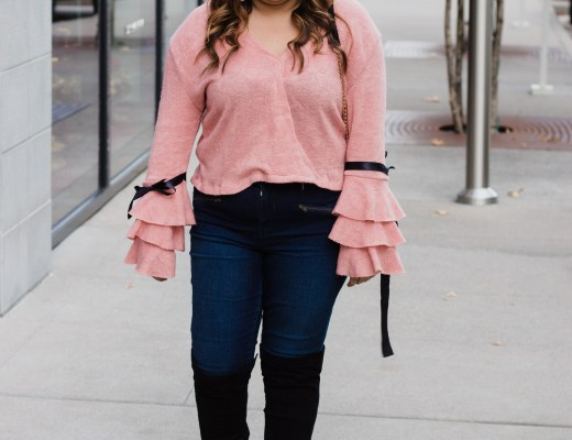 pink top, detail sleeves, pink long sleeve top, ruffle sleeves, otk boots, over the knee boots, rosegal, styling pink tops,