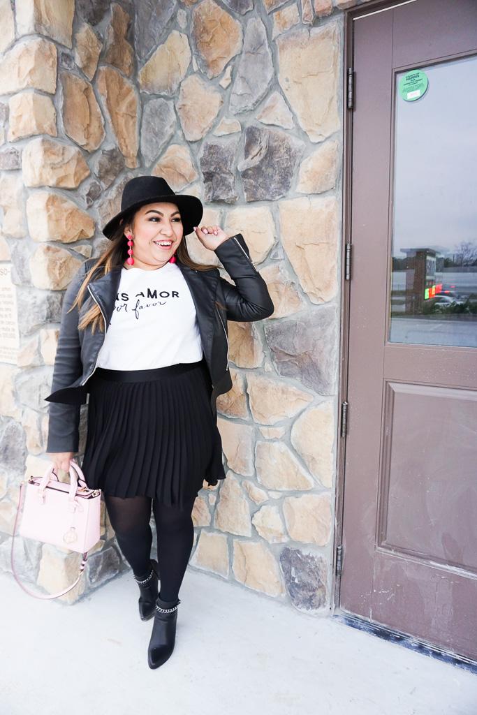 galentine's day, galentine, valentine, valentine's day, outfits for galentine's day, cute outfits for galentine's day, painting with a twist, black pleated skirt, pink earrings, black hat, cute winter outfit, outfit for valentine's day