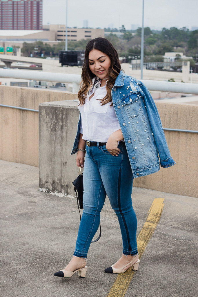 spring jackets, denim jacket, chanel shoes, gucci belt, basics outfit, cute outfit for spring, spring outfit, light jackets, pearl denim jacket, denim look, white top, levis,