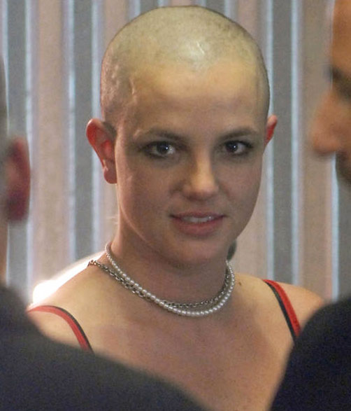 Britney Spears with shaved head
