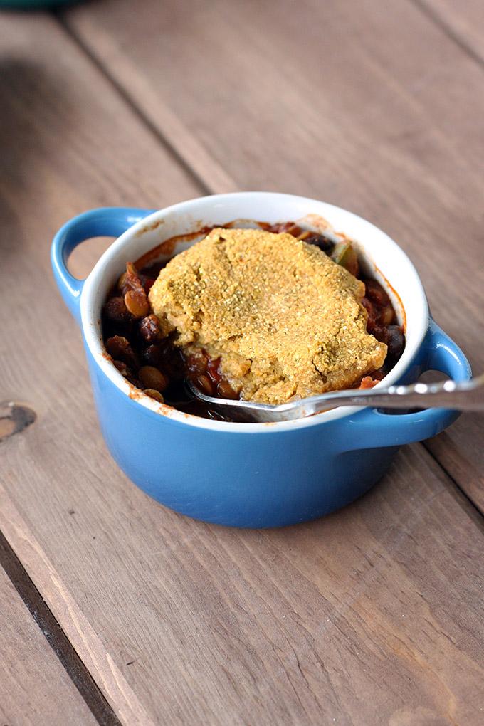 Lentil Chili Pot Pie with a pumpkin cornbread topping #vegan