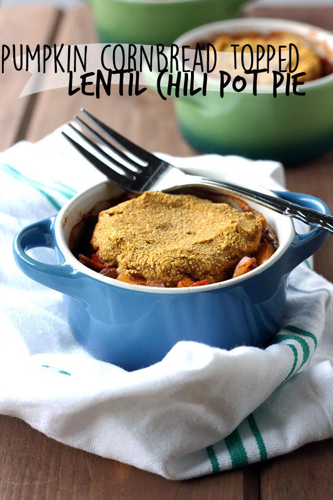 Pumpkin Cornbread topped Lentil Chili Pot Pie