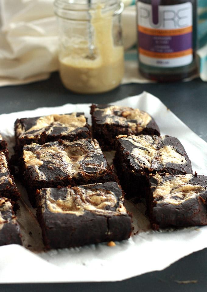 Lavender Chai Maple Tahini Swirl Brownies #vegan