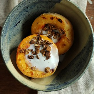 Roasted Peach with Ginger Coconut Cream