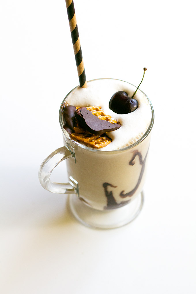 vegan chocolate covered pretzel milkshake | love me, feed me