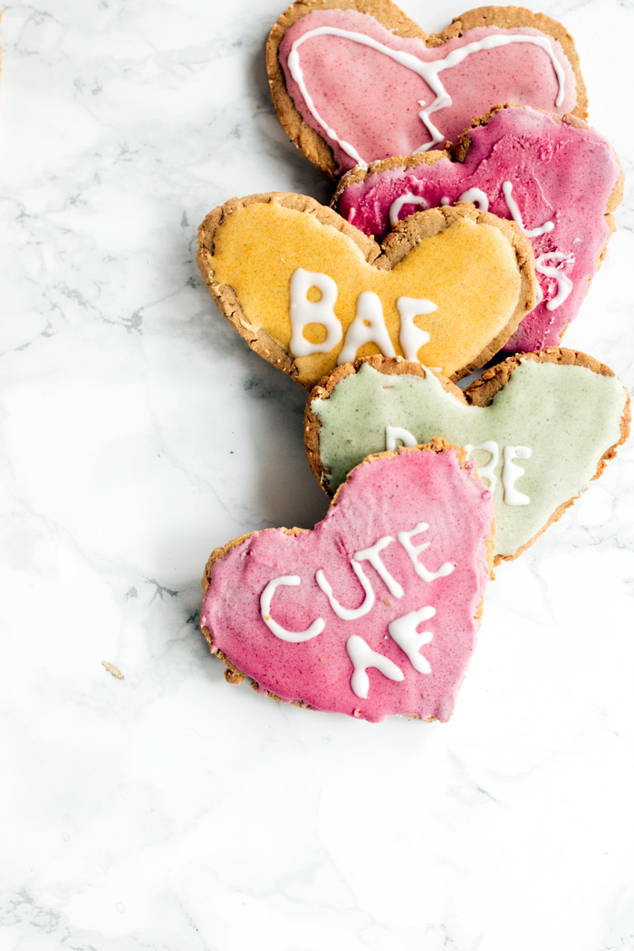 vegan and gluten free conversation heart cookies | love me, feed me
