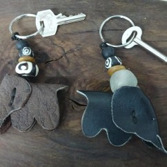 DSC00449 Up-Cycled Leather Elephant Keychains