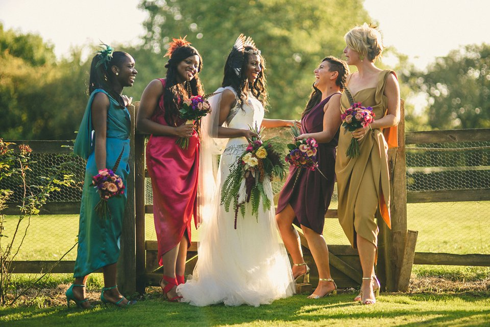 Bold colour and angel wings for a dramatic vintage drama meets whimsical elegance wedding. Images by Miki Photography.