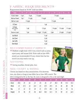 Fabric requirements & size chart