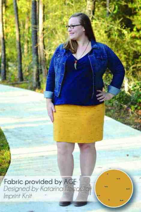 Pencil skirt in Datarina Roccella's Morse Dot Knit in Sun