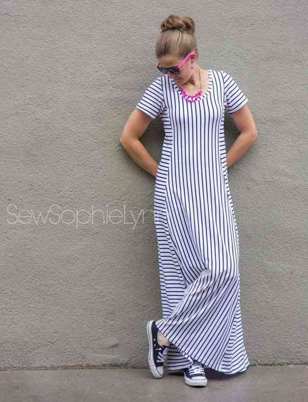 Tidal maxi dress with short sleeves