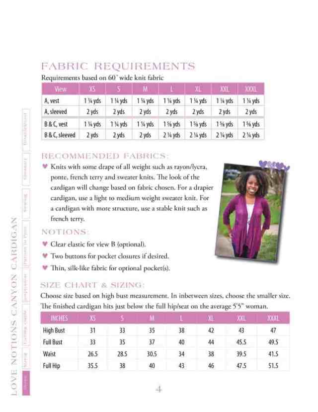 Canyon Cardigan size chart & fabric requirements