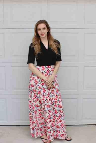 elbow sleeves, maxi length Olympia Dress